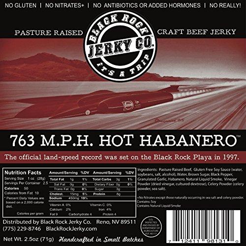 Hot Dog Jerky (Black Rock Jerky Co. Beef Jerky, 763 M.P.H. Hot Habanero, 2.5 Ounce)