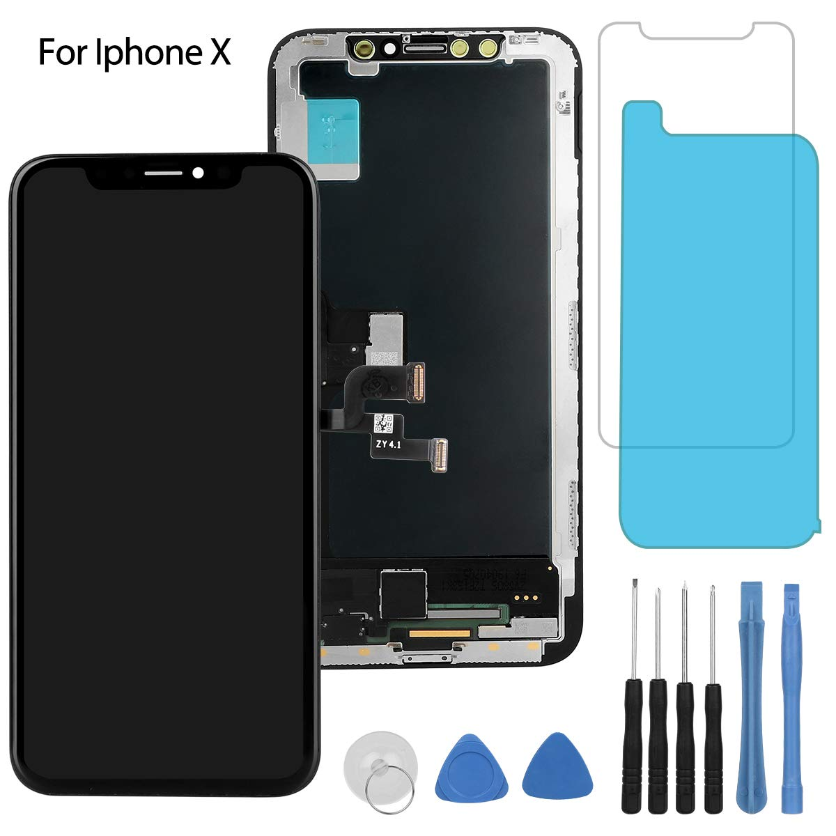 for iPhone X Screen Replacement OLED Display Touch Screen Digitizer Including Repair Kits, Protector Glass, Waterproof Adhesive, Compatible for iPhone X Screen by repairphone