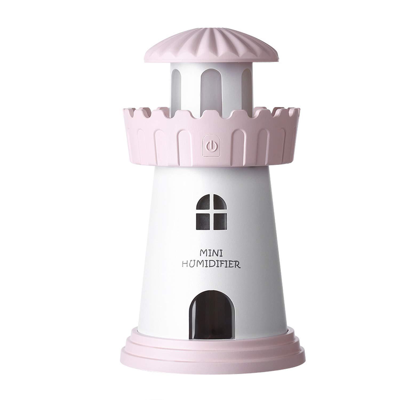 Manafun Cool Mist Humidifier, Office Car Room Cute Tower Ultrasonic USB Portable Air Humidifiers 150ml 30ml/h Night Light Girls Women Birthday Christmas Pink
