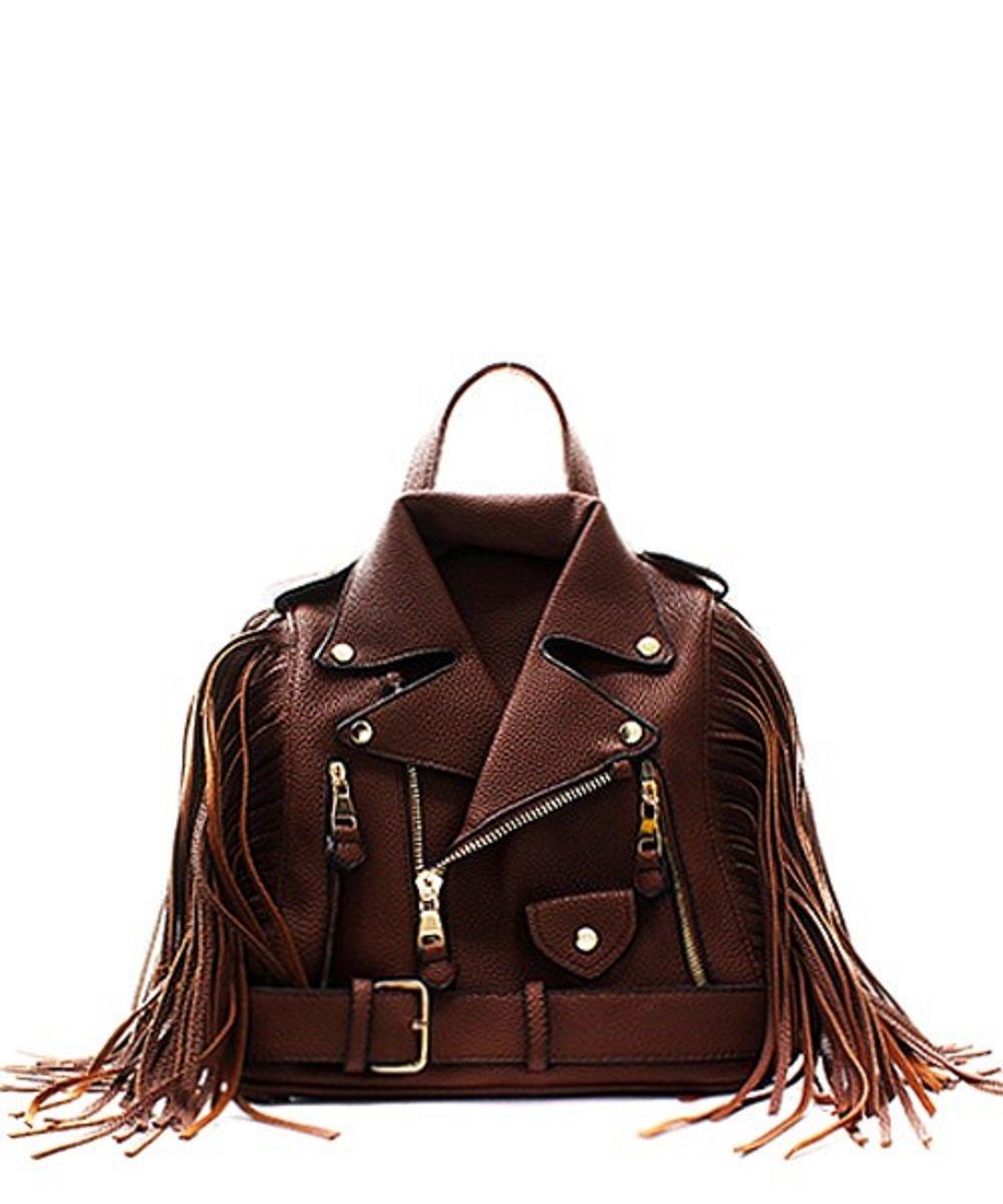 Fashion Faux Leather Jacket Handbag Backpack with Fringe