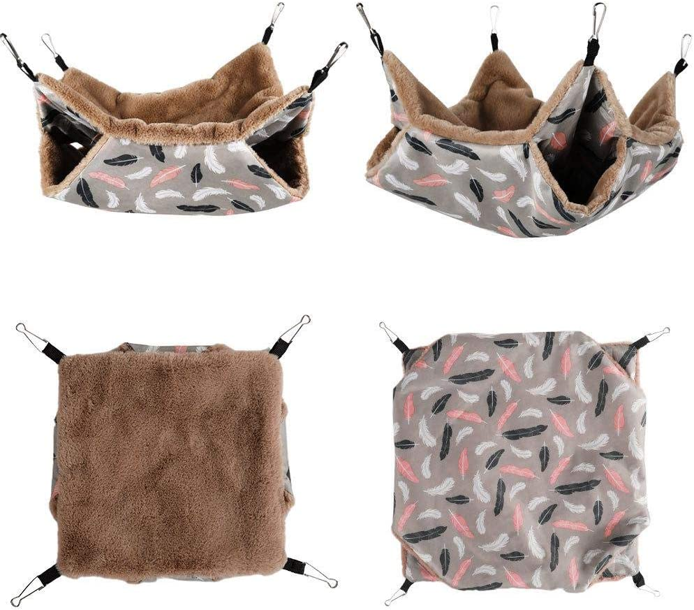 Pet Small Animal Hanging Hammock Sleep Nap Sack Cage Swinging Bed Hideout Three-layer Bunkbed Hammock Toy for Ferret Hamster Parrot Rat Guinea Pig Mice Chinchilla Squirrel