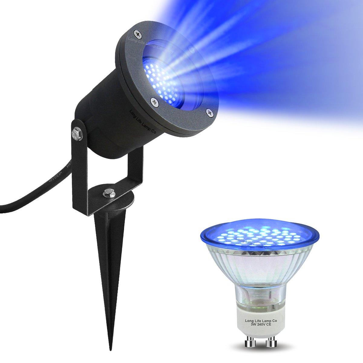 Blue LED Garden Spike -Wall Light Blue LED GU10 Outdoor IP65 Black Spike Light 4w LED Long Life Lamp Company