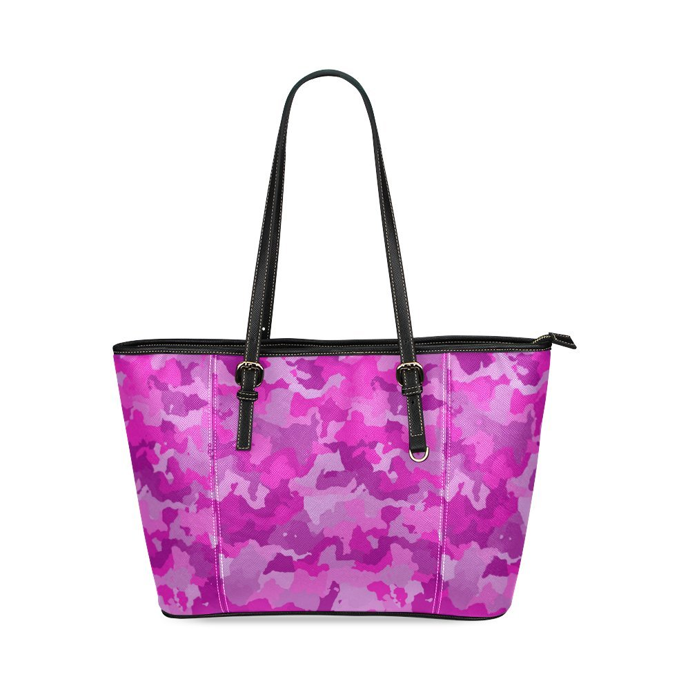 InterestPrint Camouflage Hot Pink Leather Tote Bag Large