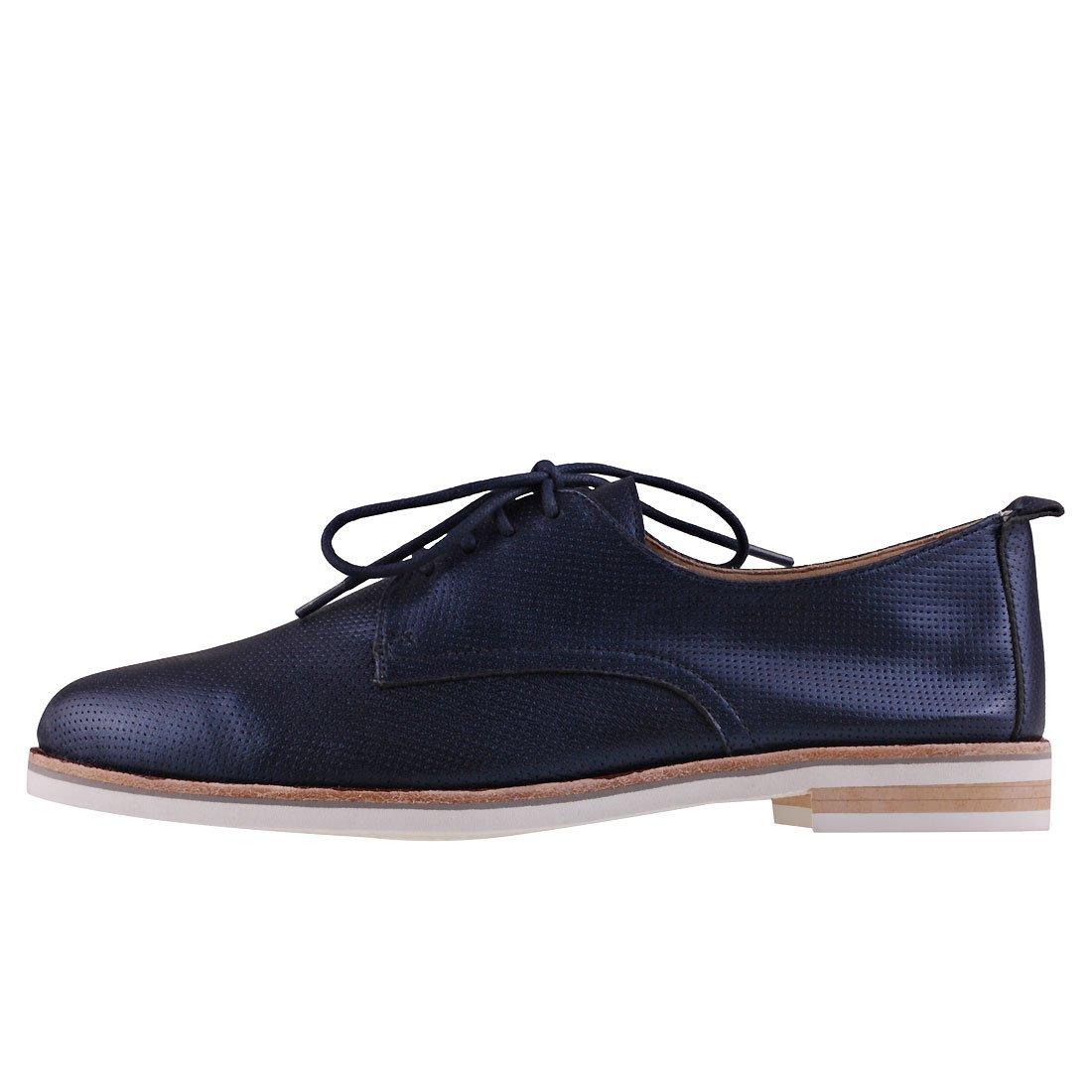 Caprice Schuhe Damen Echtleder-Halbschuhe Damen Schuhe Schnürschuhe Navy Blau 476d45