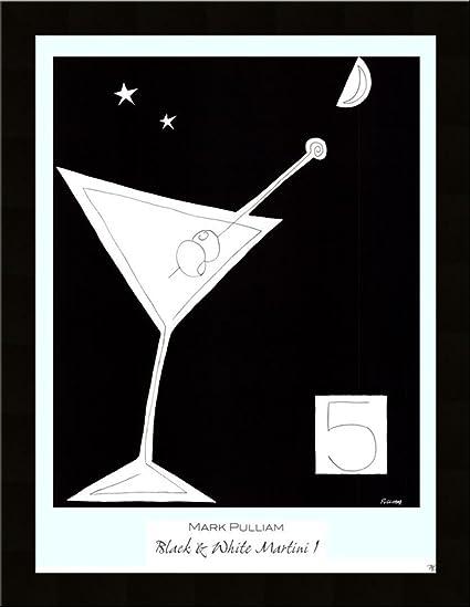 Amazon.com: BLACK & WHITE MARTINI I Bar Drink Home Wall Decor art ...