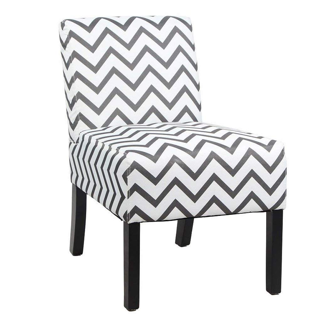 Rimiking Modern Fabric Upholstery Armless Accent Chair w/Pine Wood Legs for Kitchen Dining Living Room (Striped Pattern) by Rimiking