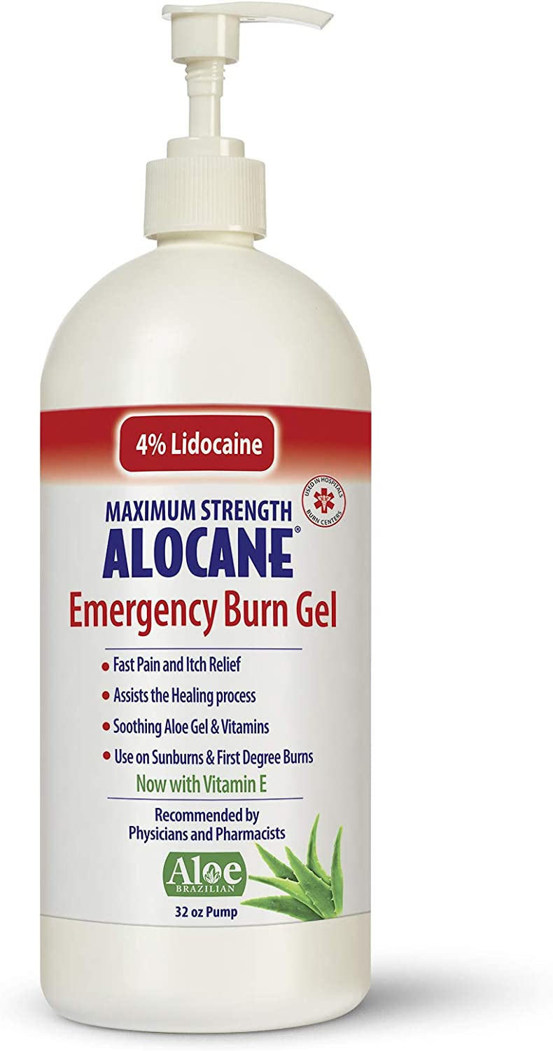 Alocane Maximum Strength 4% Lidocaine Emergency Burn Gel Pump, Commercial Grade, Aloe Vera, Vitamin E, Great for Restaurants and Other Heat Related Work environments, 32 Ounce