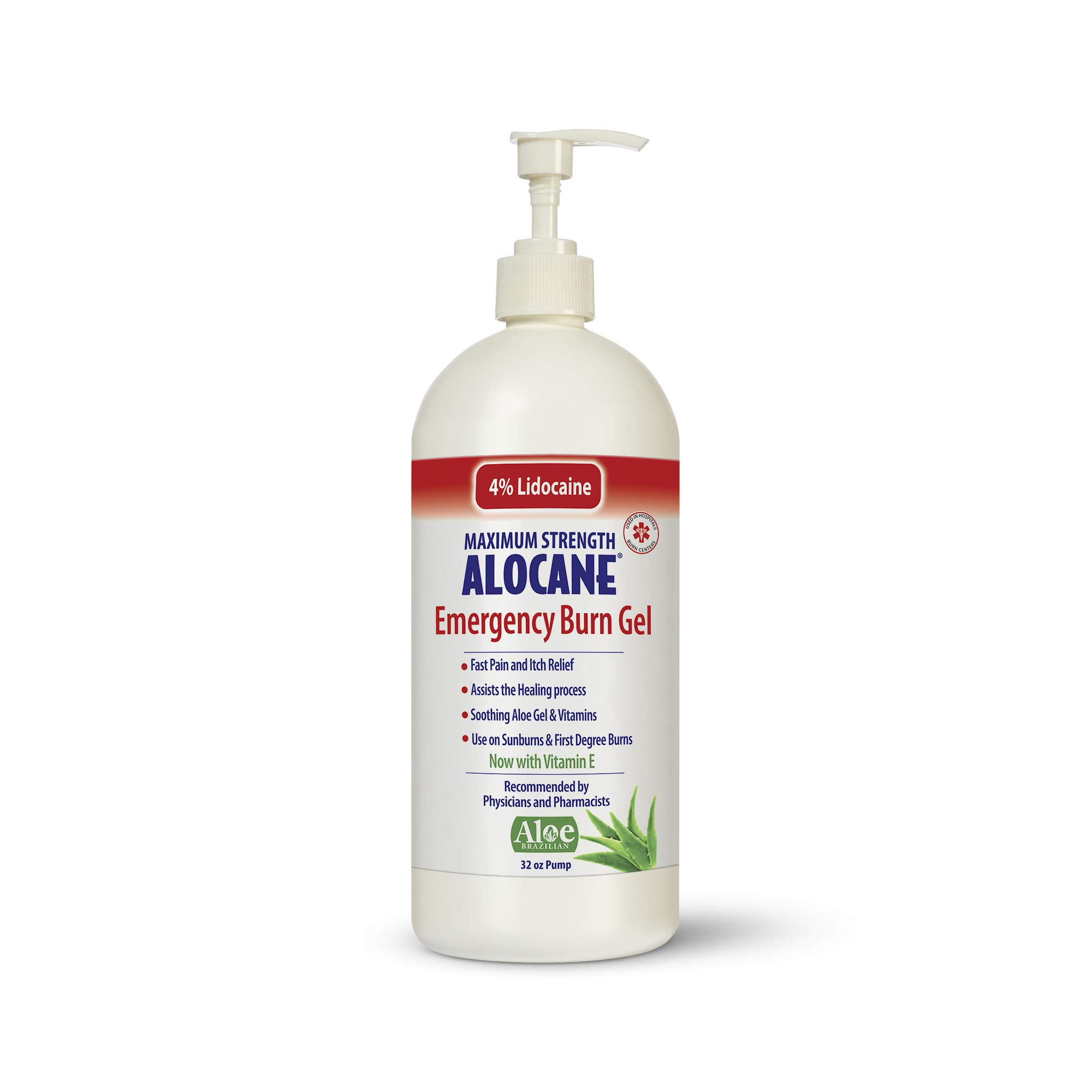 Alocane Maximum Strength 4% Lidocaine Emergency Burn Gel Pump, Commercial Grade, Aloe Vera, Vitamin E, Great for Restaurants and Other Heat Related Work environments, 32 Ounce by Alocane