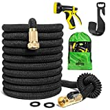 Expandable Garden Hose Kit - the Best Flexible, Lightweight, yet Heavy Duty Outdoor Expanding Water Hose - 50 ft Long When Expanded - Color Black