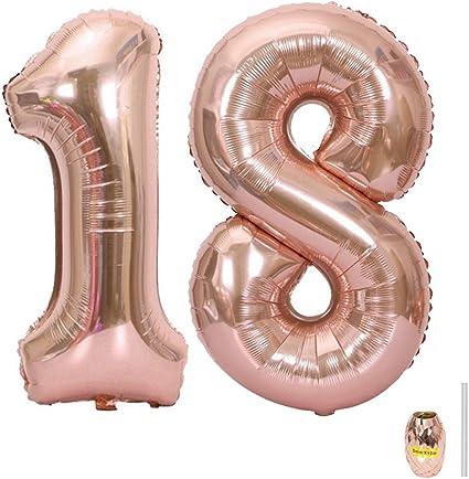 Huture 2 Globos Número 18 Figuras Globo Inflable de Helio Globo de Mylar de Papel Grande Globos Gigantes de Oro Rosa Número de Globo de 40 Pulgadas Para Fiesta de Cumpleaños Decoración Prom XXL 100cm