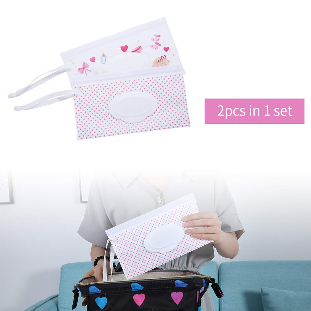 2 Pcs Stoller Wipe Travel Case Wipes Bag on The Go- Wet Wipe Holder Case for Hanging on The Diaper Bag Outdoor Activities