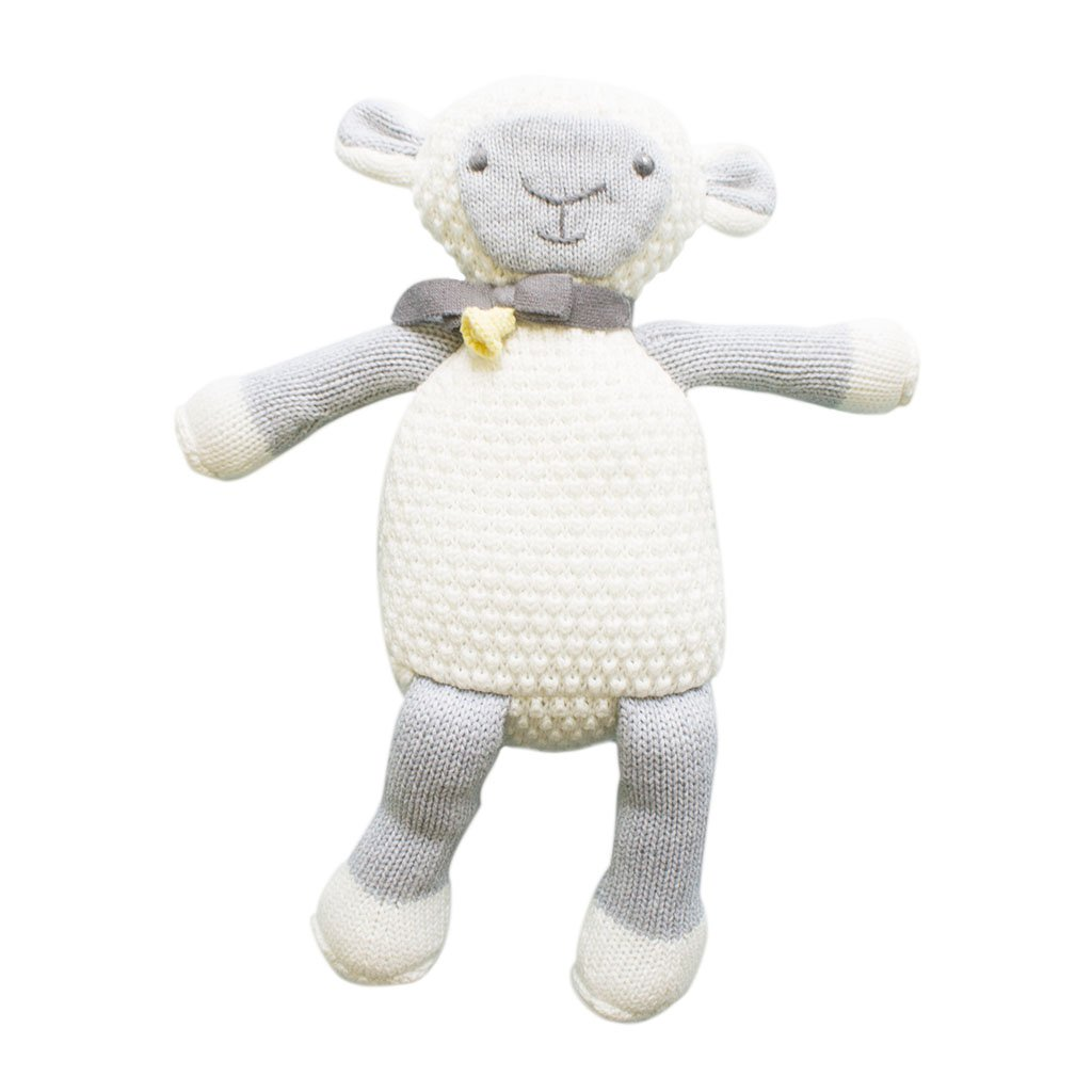 Zubels 100/% Hand-Knit Lola the Lamb Rattle Toy 7-Inch Eco-Friendly All-Natural Fibers