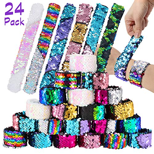 Pawliss 24 Pack Little Mermaid Magic Charm Reversible Sequin Slap Bracelets, Birthday Party Favors Supplies Gifts for Girls Kids, Pink Blue Purple