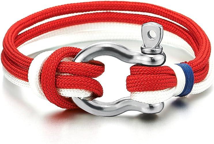 Mens Womens Steel Screw Anchor Shackles Nautical Sailor Rope Cord Wrap Bracelet Wristband