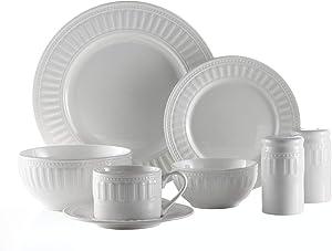 American Atelier Sparta 50 Piece Round Dinnerware Set, 10.5x10.5, White