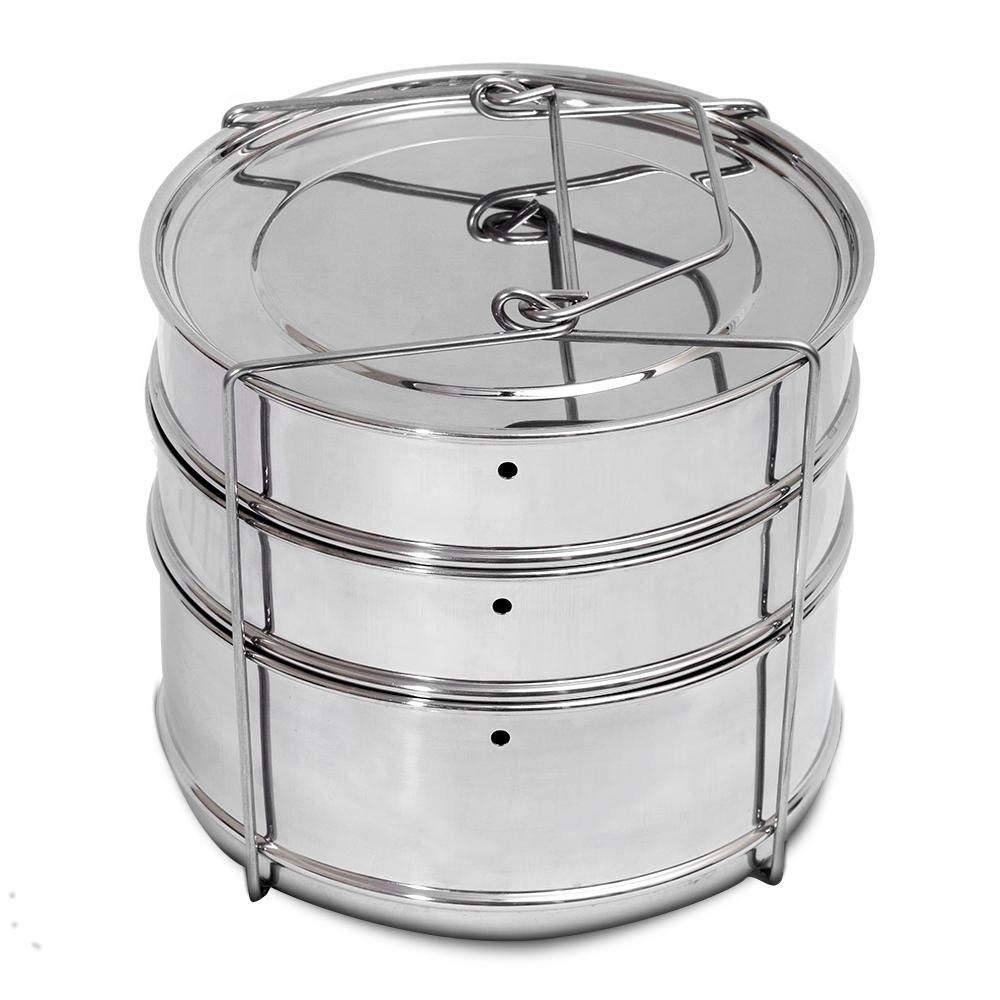 5/6/8 QT Instant Pot Accessories 3 Tier Stackable Steamer Insert Pans w Lifter - Stainless Steel Food Steamer for Pressure Cooker, Baking, Lasagna Pans - Large size 3 pans for 6/8 QT Instant Pot ...