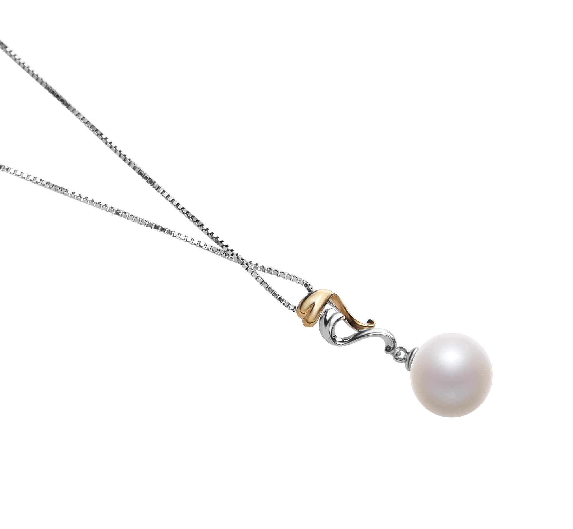 Brianna White 10-11mm AAAA Quality Freshwater 925 Sterling Silver Cultured Pearl Pendant For Women by PearlsOnly (Image #3)
