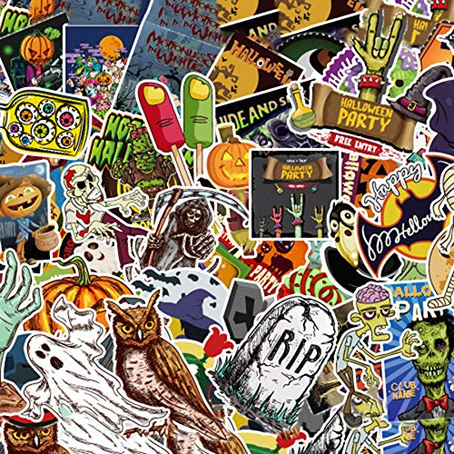 Dotiow 100pcs No Duplicated Halloween Sticker Pack Novelty Assorted Witch Ghost Bats Halloween Party -