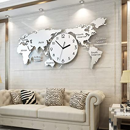 Mural Horloge Carte Du Monde Murale Pendule Cuisine Salon