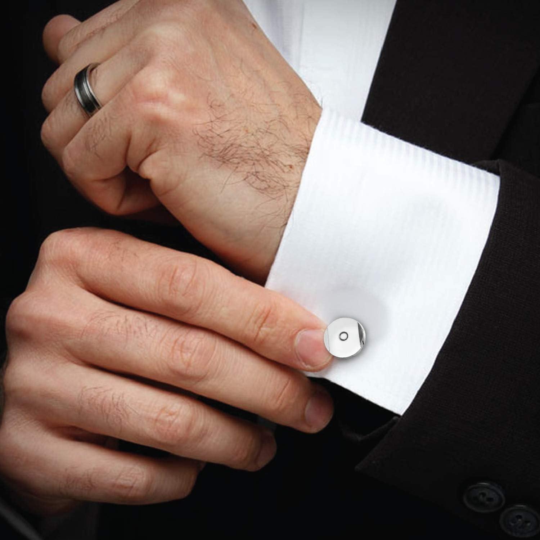 Boutons de manchette pour hommes Cercle Iinlay Blanc Boutons de manchettes