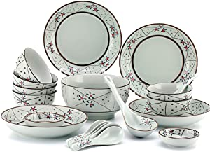 XLNB 20 Piece Dinnerware Set, Service for 6, Blue and White Porcelain Dinner Dishes Set, for Family Party, Daily Dishes and Sending Gifts