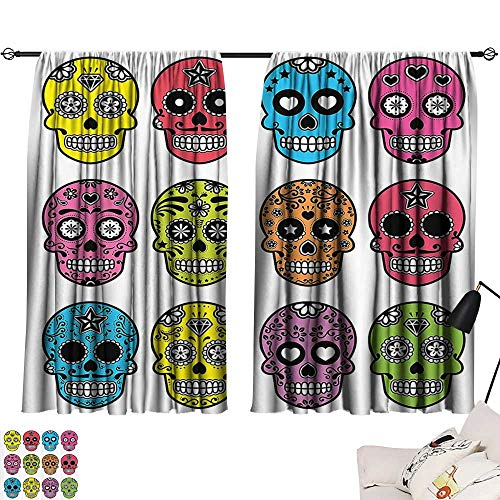 RamonDecorFH Decor Curtains Skulls Decorations Collection,Ornate Colorful Traditional Mexian Halloween Skull Icons Dead Humor Folk Art Print,Multi W55 x L39 Print Patterned Drape for Home