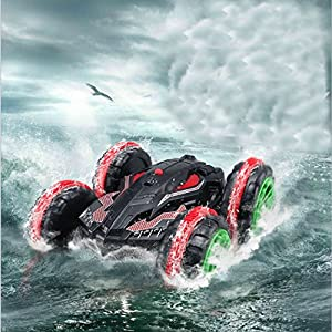 Rabing RC Car 2.4 GHz 4WD Stunt Car 6CH Remote Control Amphibious Off Road Electric Race Double Sided Car Tank Vehicle 360 Degree Spins and Flips Land & Water