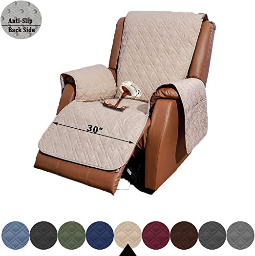 RBSC Home Recliner Chair Cover with Pockets Waterproof 30 Inch Anti Slip Large Soft Lazy Boy Chair Covers for Pets Dogs Cats Washable (30
