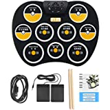 Digital Electronic Roll Up Drum Pad Set Kit, Portable Electronic Drum Pad with Stick Foot Switch Pedal for Kids Teens Adults Beginners