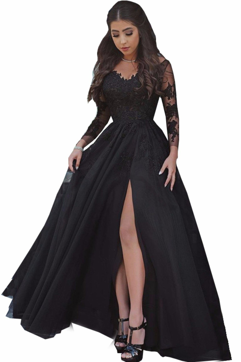 MariRobe Women's Lace Appliques Long Sleeves Illusion Slit Evening Dress Formal Party Gown US16