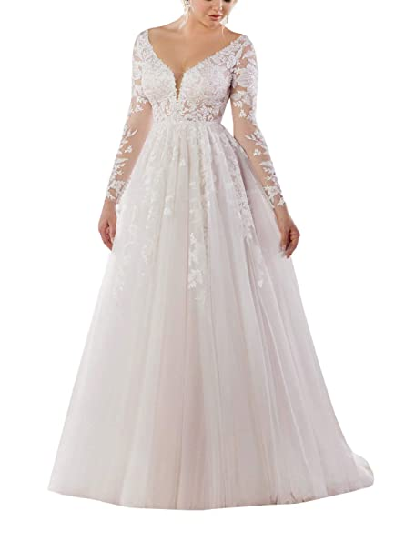 Amazon.com: Doramei - Vestido de novia para mujer con mangas ...