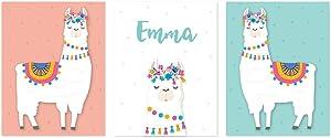 Andaz Press Personalized Name Nursery Kids Room Llama Wall Art Decor Posters, 8.5x11-inch, Peach, White, Aqua, Llama Alpaca Head Graphic, 3-Pack, Unframed, Customized Custom Llama Decor