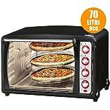 Vetrineinrete® Forno elettrico 70 litri multiforno per pizze ventilato fornetto 70lt 2300 watt con 3 teglie P44