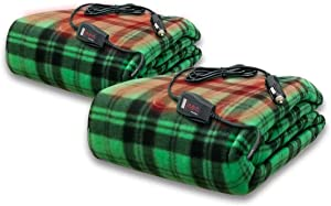 Zento Deals 2 Pack Green Plaid Electric Heated Car 12V Blanket- Polar Fleece Material Blanket - Cold Days and Nights Road Trip, Home and Camping, Safer Nonflammable Wiring and Fabric