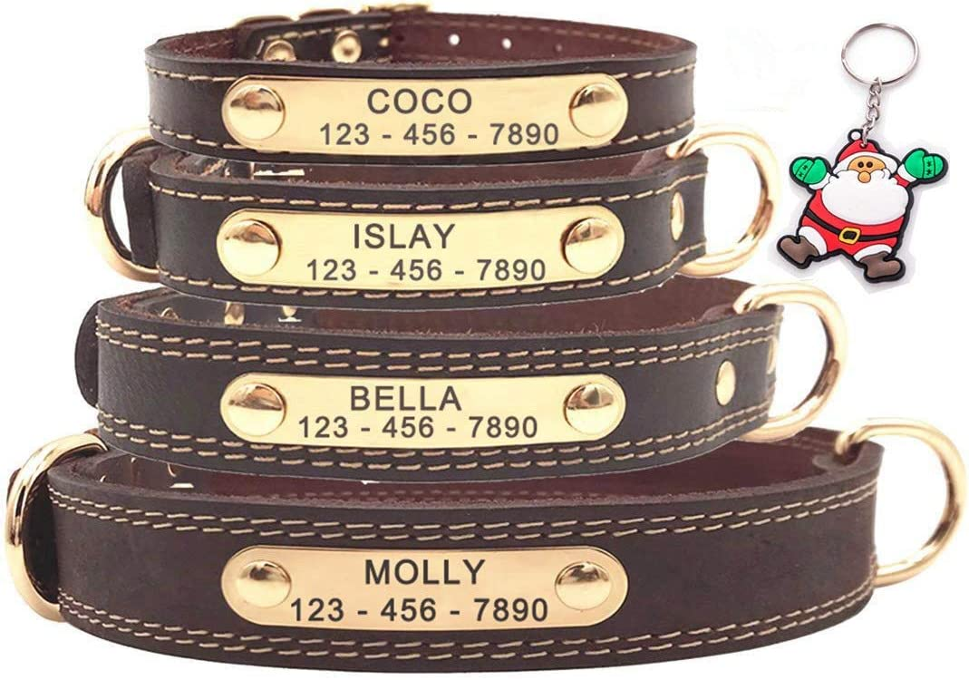 Collar para perro de cuero personalizable de gran calidad, con placa de identificación para grabar, tacto suave de piel auténtica, ajustable, perfecto para perros pequeños, medianos y grandes