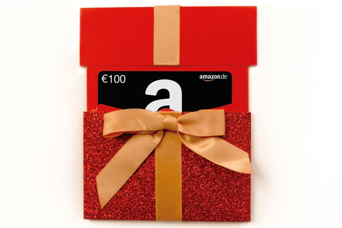 Amazon.de Geschenkkarte in Geschenkschuber - (rotes Glitzergeschenk) - mit kostenloser Lieferung per Post Amazon EU S.à.r.l.