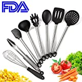 CZC HOME 8 Pieces Cooking Utensils Nonstick Cooking Tools With Nonstick Cooking Tools,Slotted Spatula,Strainer,Deep ladle,Pasta Server,Serving Spoon,Flex Spatula,Tongs,Whisk