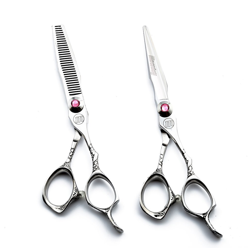 6.0'' Professional Barber Scissors High End Japanese 440C Steel Hair Cutting Scissor and Salon Thinning/Texturizing Shears Sets with Bag by Moontay