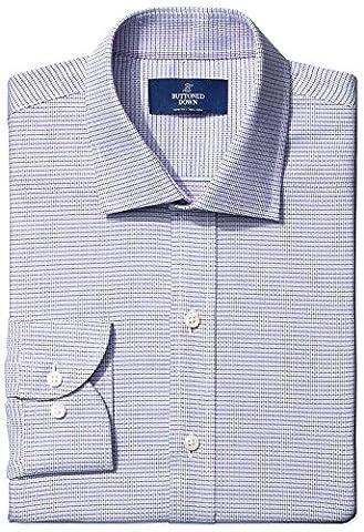 Buttoned Down Men's Slim Fit Spread-Collar Small Geo Non-Iron Dress Shirt, pink/blue, 17 32 (Geo Press)