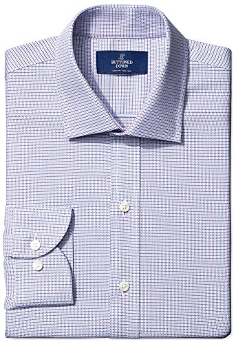 Check Shirt Dress - BUTTONED DOWN Men's Slim Fit Spread-Collar Small Micro Check Non-Iron Dress Shirt, pink/blue, 16.5 34