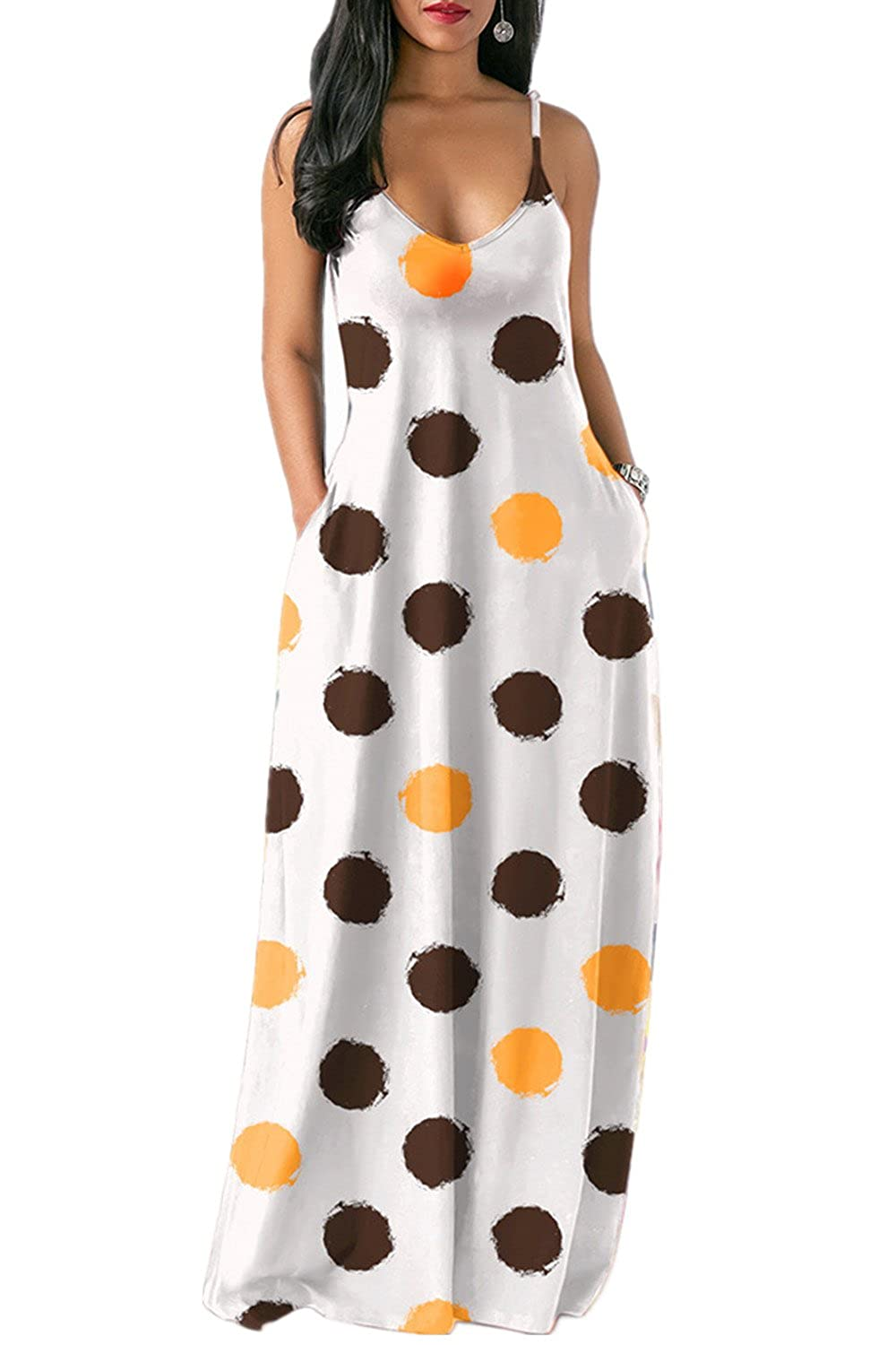 09f285807ce9 ATTENTION: There are Rainbow Tie Dye Print, Polka Dots availble for this  dresses. Please check carefully before you order this maxi dress! Style:  Loose ...