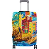 ALAZA Italy House Boat Sea Oil Painting Luggage Cover Fits 18-32 Inch Suitcase Spandex Travel Protector