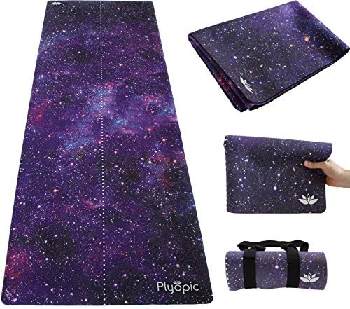 Plyopic Travel Yoga Mat Lightweight Foldable 3-in-1 Mat Towel. Luxury Sweat-Grip for Yoga, Pilates, Fitness and Exercise Portable and Eco-Friendly
