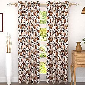 Story at Home 305 GSM Polyester 2 Pieces Door Curtain, Cream/Brown, 118 cm x 215 cm