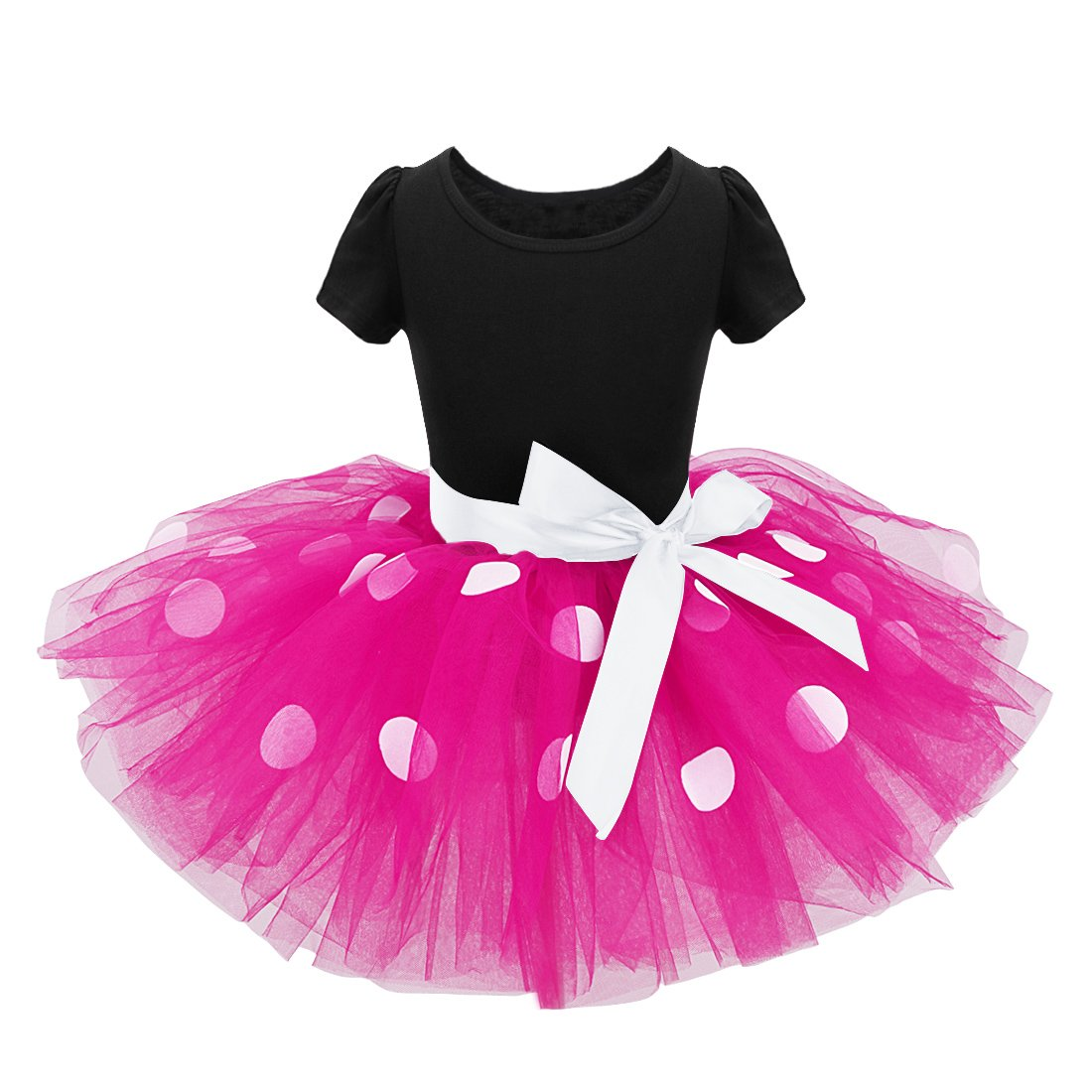 ACSUSS Infant Baby Girls Birthday Party Outfits Cartoon Polk Dots Short Sleeves Romper Tutu Dress Outfits with Headband