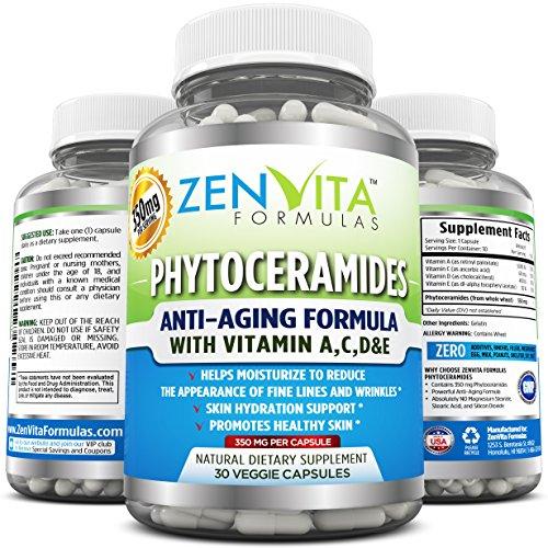 Phytoceramides 350 mg - avec les vitamines A, C, D & E, formule anti-âge puissante, toute la plante naturelle dérivée renouvellement de peau & hydratation supplément, 30 Capsules, 30 jours d'approvisionnement de 350 mg Phytoceramides. Lifting natu