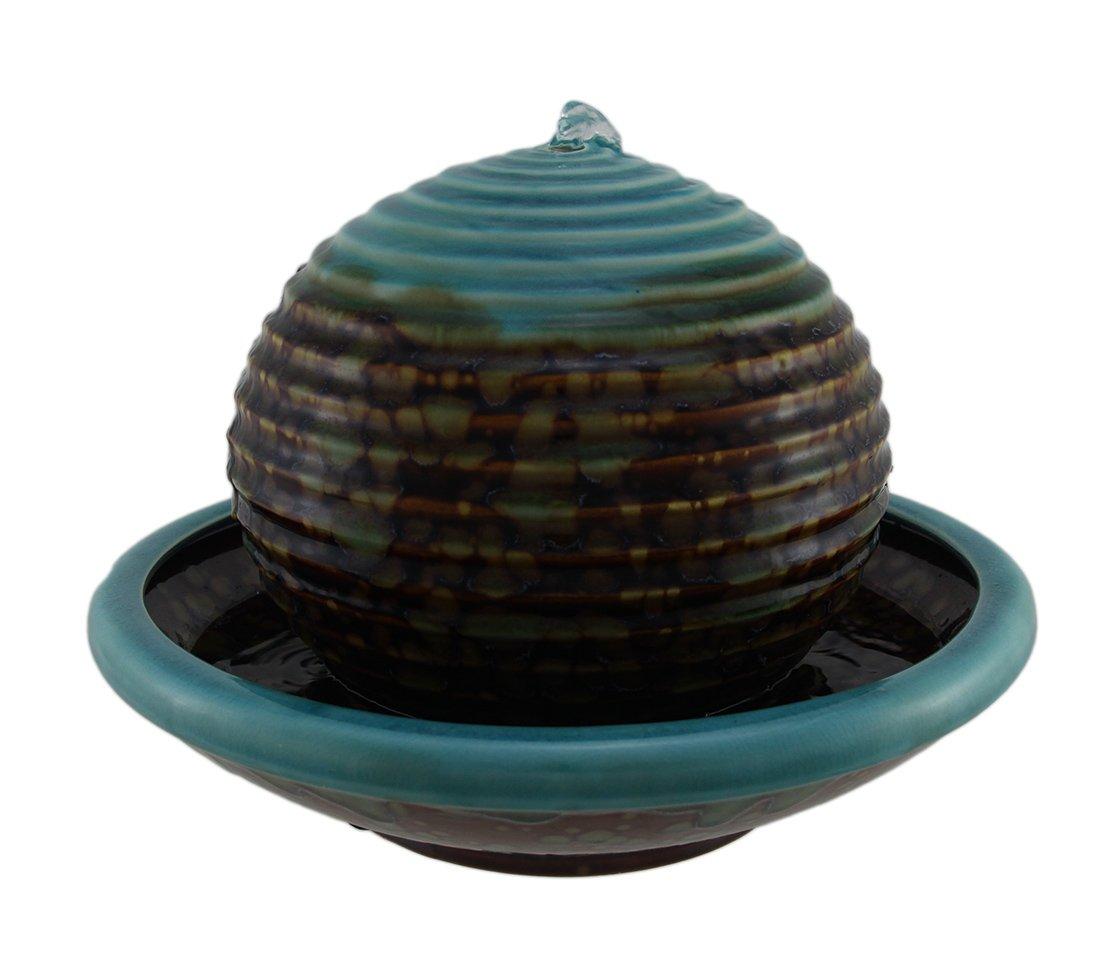 Zeckos Burnt Stained Blue Porcelain Floating Ball in Bowl Tabletop Fountain