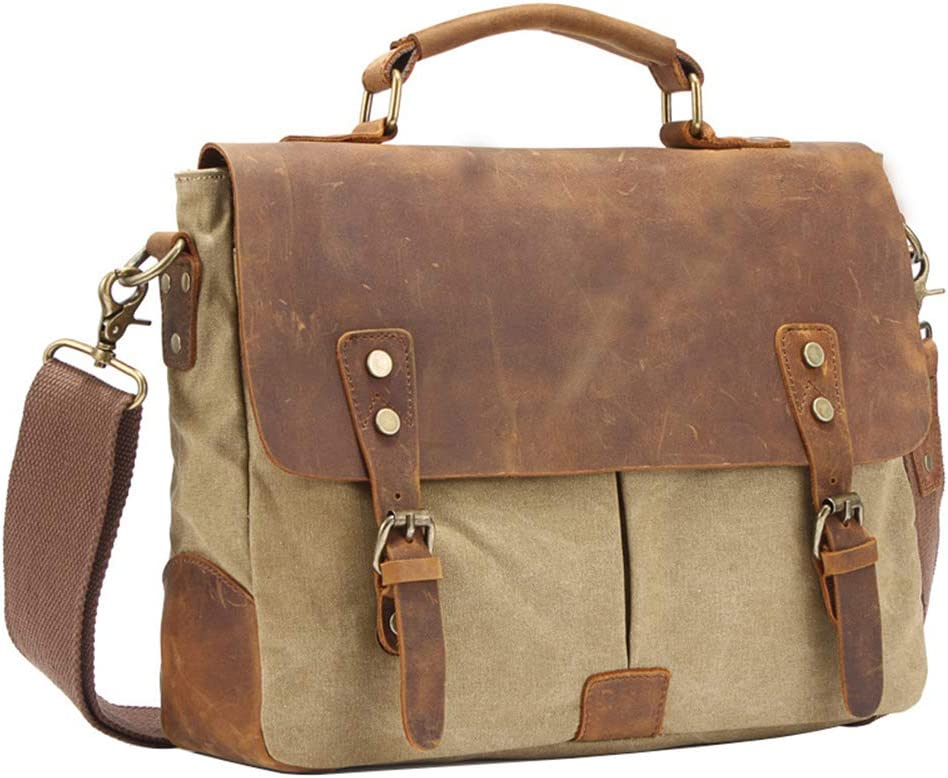 MSQL Vintage DSLR Camera Bag Waterproof and Shockproof Canvas Leather Camera Messenger Bag for 14-Inch Laptops Books and Magazines