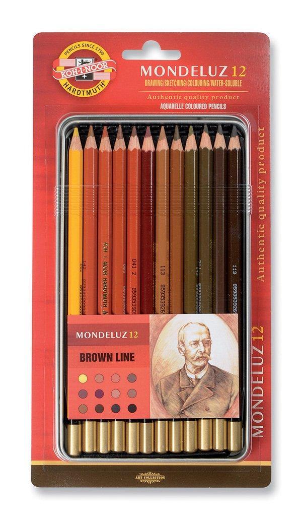 Set de 12 Koh-I-Noor Mondeluz Brown Line Ligne brune Crayons de Couleur Aquarelle