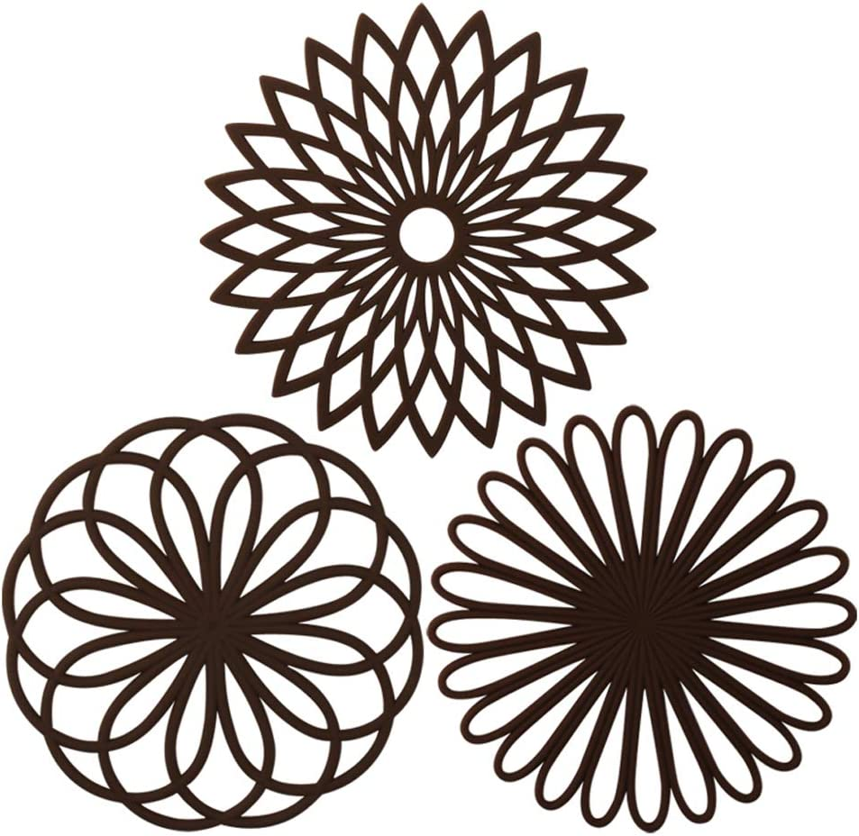 ME.FAN 3 Set Silicone Multi-Use Flower Trivet Mat - Premium Quality Insulated Flexible Durable Non Slip Coasters Hot Pads Coffee